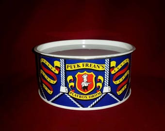 Vintage 1960s Peek Frean's Drum Tin Playbox Collectible Collector Container