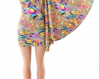 Trippy Tropical Swirl One Shoulder Fan Sleeve Bodycon Dress in Stretchy Spandex  152346