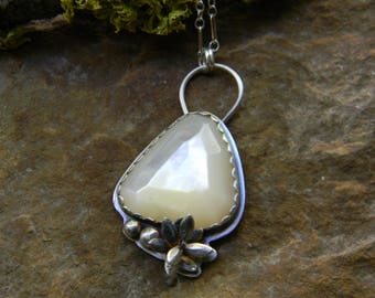 Beautiful Faceted Mother of Pearl Pendant Necklace - sterling silver - oxidized and rustic with silver succulent details