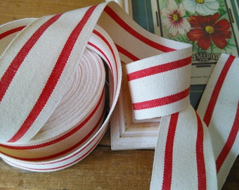 red  and cream ticking stripe cotton ribbon  By The Yard