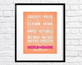 Crossfit Couple, Friends -  Custom Art Print, Pairs, Bacon, Eggs, Paleo, AMRAP, WOD, Fran, Swole Mates, Fit Couple, Fitness, OLY