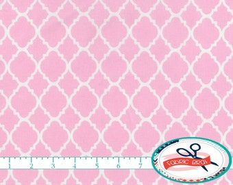 LIGHT PINK MOROCCAN Fabric by the Yard, Fat Quarter Quatrefoil Fabric Pink Fabric Quilting Fabric 100% Cotton Fabric Apparel Fabric w2-14