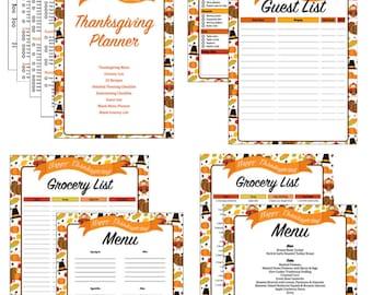 Thanksgiving Planner - Thanksgiving Menu - Meal Planner - Planning Checklist - Grocery List - Guest List - Entertaining Checklist - Recipes