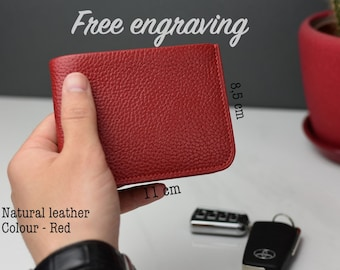 Mens wallet, mens red wallet, Leather wallet, Minimalist wallet, Custom wallet, Birthday gift, Gift for dad, Personalized wallet, Mens gift