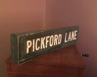 Vintage Cast Metal Street Sign - PICKFORD LANE - Man Cave Decor Ford Car Lover