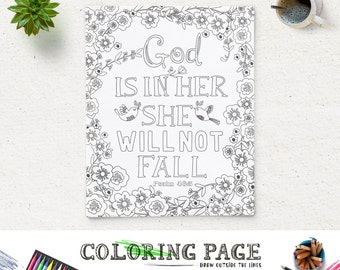 Coloring Page God is in her Printable Bible Verse Psalm 46:5 Instant Download Printable Quote Adult Coloring Pages Anti Stress Art Therapy