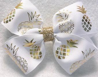 Girly Golden Pineapple Hair Bow