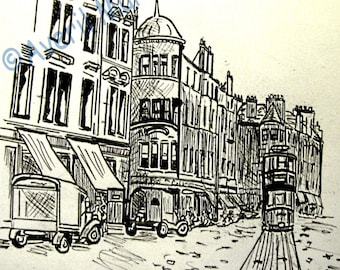 Pen and Ink Original Drawing of Old Glasgow, Scotland. Circa 1930 Size16 x 14  Handmade.