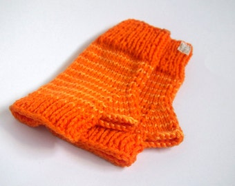 one of a kind wool-free wristwarmers-- the condyle in bright neon orange with light mango stripes