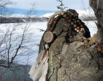 108 bead mala, wood beads, matte Red Creek Jasper, Tree of Life pendant