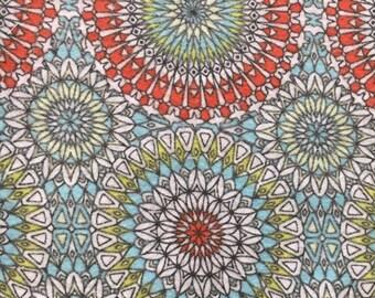 Kaleidoscope-Blanket-Red-Lime-Teal-White-Minky-Crochet Blanket-Burp Cloths-Layette Set