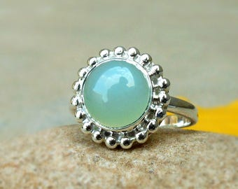 Aqua chalcedony ring, Aqua Cabochon Gemstone bezel ring, Dotted ring, Gift for her, Sterling Silver Aqua Ring Chalcedony Ring Sz 4 5 6 7 8 9
