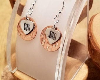Off road tire tread layered hand stamped copper and aluminum french hook earrings