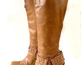 Pirate Boots, Stacked Heel Boots, Antonio Melani Tall Boots Vegan Leather Boots Stacked Heel Boots  Size 9.5