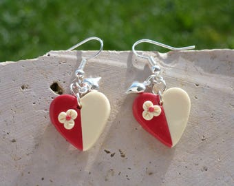 Heart Earrings in red polymer clay beige - bouclesSt love Valentine's day love - made costume jewelry handmade