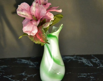 Green and White Swirled Glass Vase