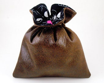 Brown Faux Leather / Cutie Skulls / Drawstring Pouch