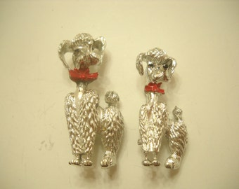 Two (2)  Vintage Silver Tone Poodle Scatter Pins (3072)