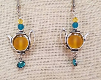 Jeweled Teapot Earrings - Tea Lovers Gift