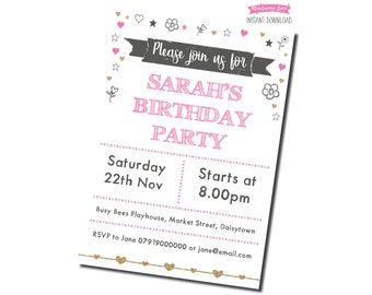Printable Pink & Gold Birthday Party Invitation - White Background