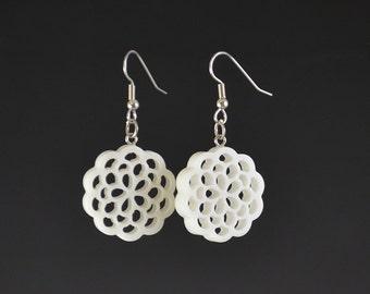 3 Layer Flower of Life Dangle Drop Earrings - Upcycled White Corian Sacred Geometry Mandala - Handmade Recycled Earrings