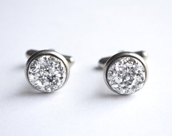 Silver Druzy Groomsmen Cuff Links