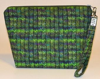 Designer Green and Jeweltones Knit print project bag