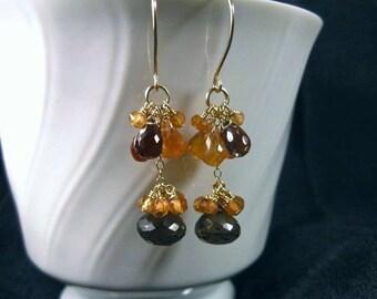 Double Cluster Earrings- Smoky Quartz, Hessonite Garnet, Gold Filled
