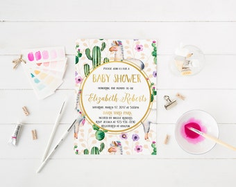 Llama Baby Shower Invitation Watercolor Floral Baby shower Cactus Floral Invitation Gold Glitter Baby Shower Personalized Invitation Panda