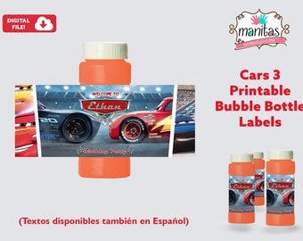 Cars 3 Printable Bubble Bottle Label, Personalized Bubble Bottle Label, Cars 3 Party, Cars 3 Birthday, Cars 3 Favors, Cars 3
