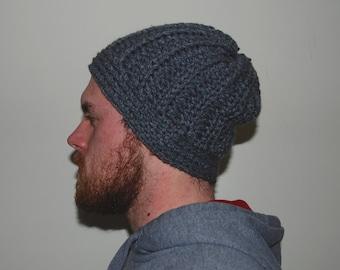 Ribbed Gray Crochet Beanie