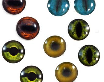 5 Pairs 30mm Animal Glass Eye Cabochons Set of 10 Eyes  - Bulk Wholesale Lot - Horse Alligator Lion Koala Turtle - Taxidermy or Jewelry