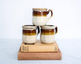 vintage stoneware mugs / three 1970s ceramic mugs