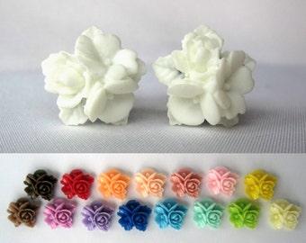 """Pair of Unique Detailed Flower Bouquet Plugs - Gauges - 8g, 6g, 4g, 2g, 0g, 00g, 7/16"""", 1/2"""" (3mm, 4mm, 5mm, 6mm, 8mm, 10mm, 11mm, 12mm)"""