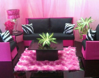Handmade Doll Furniture Playscale 1:6 Scale for Barbie / Monster High / Bratz Hot Pink and Black Zebra Sofa & Chairs
