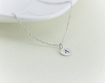 Letter Necklace, Initial Necklace, Personalized Necklace, Name, Sterling Silver, Circle Disc Charm