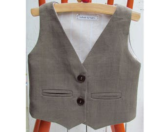 Brown Vest for Boys - Boys Wedding Outfit - Brown Linen Vest - Boys Wedding Vest - Boys Brown Waistcoat - Baby Waistcoat - Boys Linen Vest