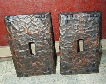 Pair Hammered Copper Switchplates