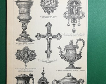 Silversmithing art, original old print from an old german book, 1895