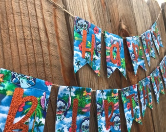 Lil and stitch happy birthday banner, lil and stitch, banner, birthday