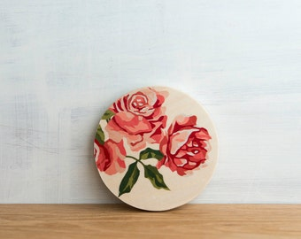 Paint by Number Circle Art Block 'Vintage Roses' - floral, vintage flowers, pink roses