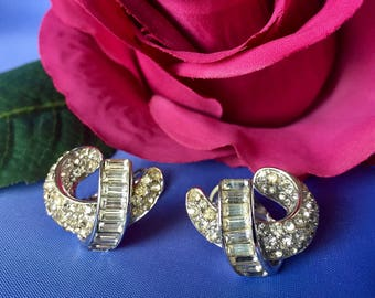 Crown Trifari Signed Vintage Rhinestone Clip Earrings, Vintage Rhinestone Clip Earrings, Crown Trifari Clip Earrings Pat. Pend.