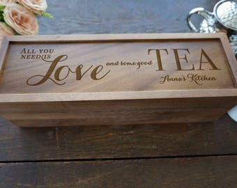 Personalized Tea Box, Rustic Wood Tea Box, Custom Tea storage chest, Tea lovers gift, Wood kitchen 5 compartments storage box engraved lid