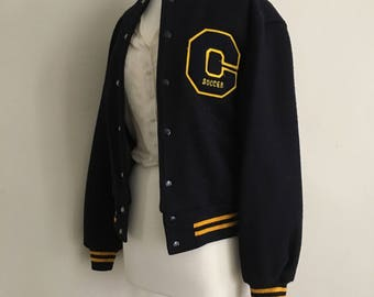 Navy and Gold Soccer Varsity Jacket | Blue and Yellow Vintage Letterman Jacket | Vintage Jacket | Retro Patch | Costume