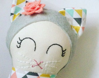 Handmade doll , rag doll ,cloth doll ,toddler friendly , ce marked , nursery , baby shower cat , cat doll , ready to ship