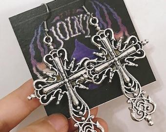 Mysterious Cross Silver Earrings -- Dark Angel!!