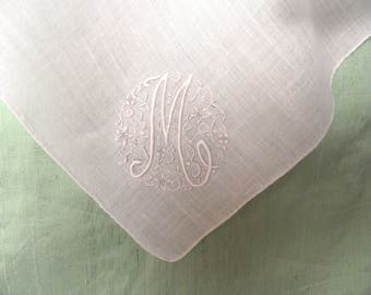 Monogram M embroidered handkerchief / white on and white smaller hankie / initial M, letter M