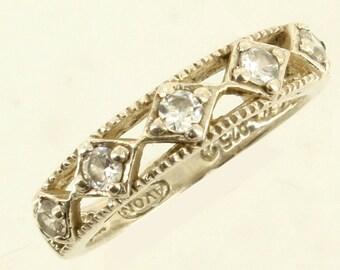 Vintage Sterling Open Work Rhinestone Wedding Band Style Ring Size 6.25