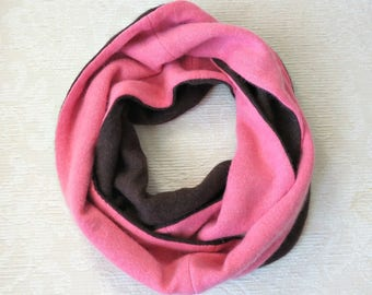 Cashmere Infinity Scarf, Eco Friendly Repurposed Cashmere Sweater Scarf, Coral and Brown
