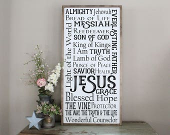 Names of Jesus Framed Wood Sign, Inspirational Sign, Names of God Wall Art, Living Room Decor, Bible Verse Home Decor, Scripture Wall Art